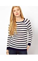 Whistles Alexis Stripe Lace Stitch Sweater - Lyst