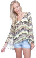 Dolce Vita Long Sleeve Multicolored Striped Top - Lyst