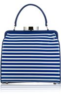 Lulu Guinness Cobalt and Chalk Stripe Patent Leather Small Eva - Lyst