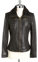 Michael by Michael Kors Sherpa Collar Leather Jacket - Lyst
