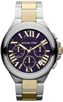 Michael Kors Midsize Silver Colornavy Stainless Steel Camille Chronograph Watch - Lyst