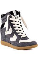 Sam Edelman Bennett Blk Wedge Sneakers - Lyst