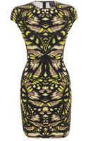 McQ by Alexander McQueen Neon Butterfly Camouflage Cap Sleeve Dress - Lyst