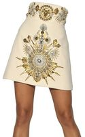 Fausto Puglisi Embroidered Wool Crepe Skirt - Lyst