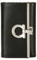 Ferragamo Gancini Saffiano Leather Key Holder - Lyst