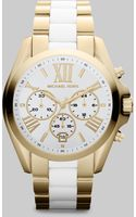 Michael Kors Goldtone Stainless Steel Ceramic Chronograph Watch - Lyst