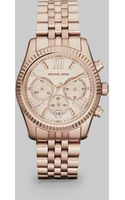 Michael Kors Lexington Round Rose Goldtone Stainless Steel Chronograph Bracelet Watch - Lyst