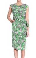Etro Sleeveless Silk Printed Dress With Bow - Lyst