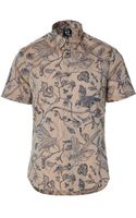 McQ by Alexander McQueen Nougatblue Printed Cotton Shirt - Lyst