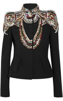 Alexander McQueen Crystalembellished Twill Jacket - Lyst