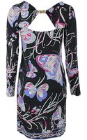 Emilio Pucci Long Sleeve Open Back Butterfly Dress - Lyst