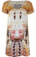 Mary Katrantzou Short Sleeve Cakeaflake Silk Shift Dress - Lyst