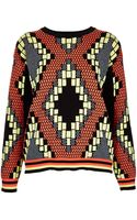 Topshop Knitted Tribal Jacquard Sweat - Lyst