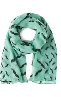 ModCloth Mustachioed To Joy Scarf in Mint - Lyst