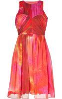 Matthew Williamson Pink multi Pleated Silk Chiffon Dress - Lyst