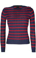 Ralph Lauren Black Label Navy Blue-bright Red Striped Cable Knit Silk Pullover - Lyst