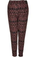 Topshop Aztec Jersey Tapered Trousers - Lyst
