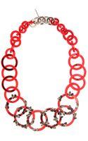 Miu Miu Crystal Embellished Necklace - Lyst