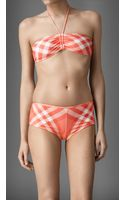 Burberry Gathered Bandeau Check Bikini - Lyst