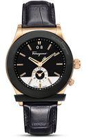 Ferragamo Black Leather Strap Watch 40mm - Lyst