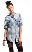 Akira Bleached Denim Shirt With Snaps - Lyst
