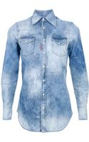 DSquared2 Bleached Denim Shirt - Lyst