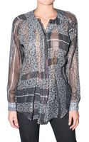 Preen By Thorton Bregazzi Printed Georgette and Lurex Shirt - Lyst
