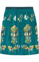 Oscar de la Renta Printed Silk-Faille Mini Skirt - Lyst