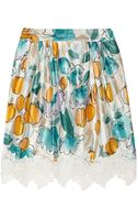 Dolce & Gabbana Lace Trimmed Floral Print Silk Dupioni Skirt - Lyst