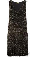 Issa Embellished Fringed Tulle Dress - Lyst