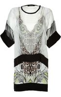 Roberto Cavalli Printed Silk Dress in Naturalmulti - Lyst