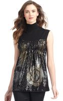 Alberta Ferretti Sequined Rose Top - Lyst