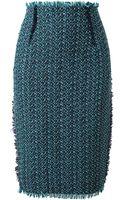 Lanvin Woven Tweed Pencil Skirt - Lyst