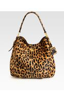 Prada Cavallino Leopardprint Hair Calf Hobo - Lyst