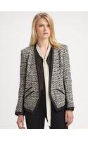 DKNY Leather Trim Tweed Jacket - Lyst