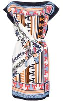 MSGM Aztec Print Silk Dress - Lyst
