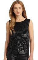 Alberta Ferretti Silk Embellished Blouse - Lyst