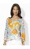 Lauren by Ralph Lauren Ruffled Paisley Silk Top - Lyst