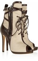 Oscar de la Renta Mauritania Canvas and Leather Ankle Boots - Lyst