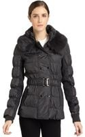Via Spiga Quited Fur Collar Short Jacket - Lyst