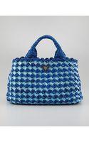 Prada Bicolor Crocheted Raffia Medium Tote Bag - Lyst