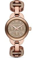Michael Kors Mini Runway Multifunction Watch in Sand Rose Gold 33mm - Lyst