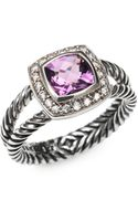 David Yurman Amethyst Diamond Sterling Silver Ring - Lyst