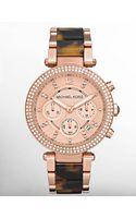 Michael Kors Ladies Lux Sport Rose Gold Tortoise Crystal Watch - Lyst