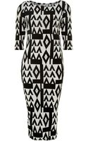 John Zack 34 Sleeve Printed Midi Dress - Lyst