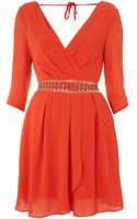 Tfnc 34 Sleeved Dress with Beaded Waist Detail - Lyst
