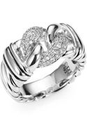 David Yurman Diamond and Sterling Silver Ring - Lyst