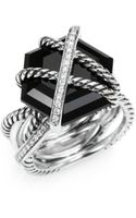David Yurman Diamond Black Onyx and Sterling Silver Ring - Lyst