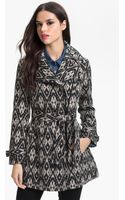 Kenneth Cole Asymmetrical Zip Print Trench Coat - Lyst