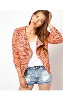 Vanessa Bruno Athé Fluro Knitted Biker Jacket - Lyst